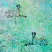 lying greyhound, cyan