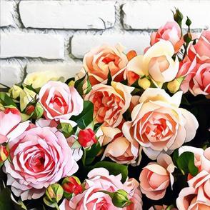 brick wall roses