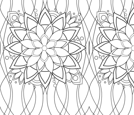 BIg Flashy Flower coloring page - Lake fabric by sssowers on Spoonflower - custom fabric