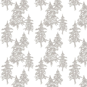 Evergreen Trees- beige on white