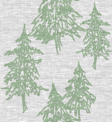 Evergreen Trees on Linen - Sage on Grey