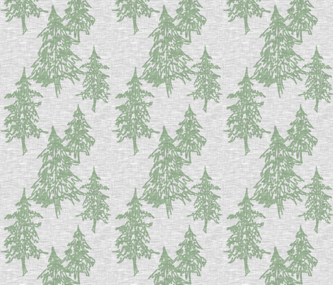 Evergreen Trees on Linen - Sage on Grey fabric by sugarpinedesign on Spoonflower - custom fabric