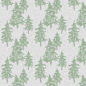 Evergreen Trees on Linen - Sage on Grey