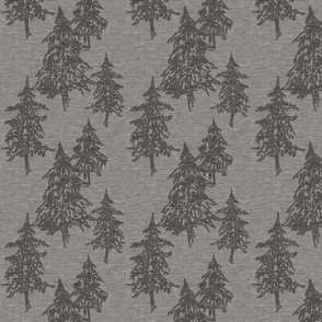 Evergreen Trees on Linen- pewter