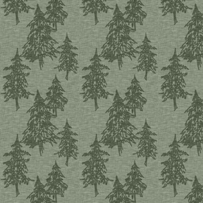 Evergreen Trees on Linen - fern