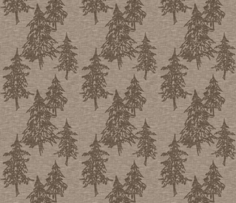 Evergreen Trees on Linen - Mocha fabric by sugarpinedesign on Spoonflower - custom fabric