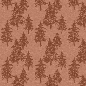 Evergreen Trees on Linen - rust red