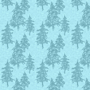 Evergreen Trees on Linen- ice blue