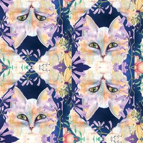 CAT WAVY STRIPES AND FLOWERS ON PURPLE