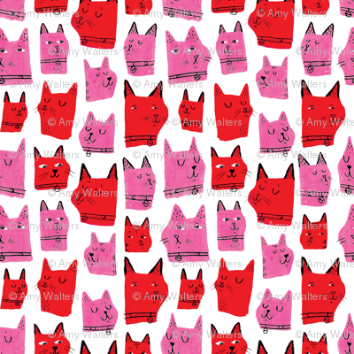 Painted Cats Red and Pink