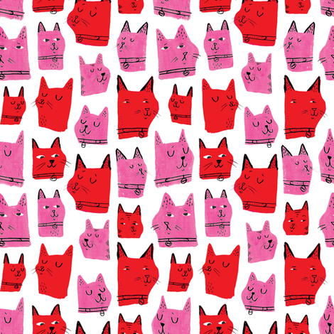 Painted Cats Red and Pink fabric by amywalters on Spoonflower - custom fabric