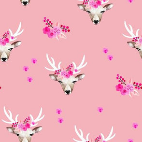 Romantic watercolor reindeer bohemian deer and summer blossom pink