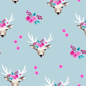 Romantic watercolor reindeer bohemian deer and winter blossom blue