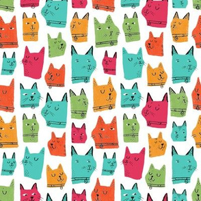 Painted Cats Multi Coloured