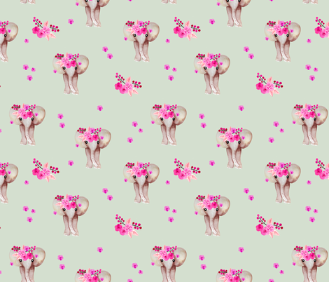 Romantic watercolor elephants bohemian zoo and summer blossom mint fabric by littlesmilemakers on Spoonflower - custom fabric