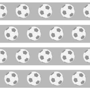 soccer gray white stripe- Large 45 gray ball