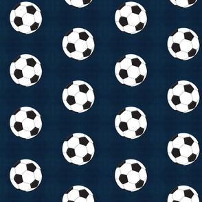 soccer white ball - vintage navy - Large 467