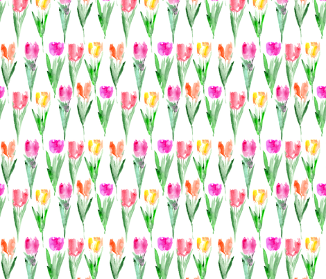 Watercolor tulips pattern fabric by katerinaizotova on Spoonflower - custom fabric