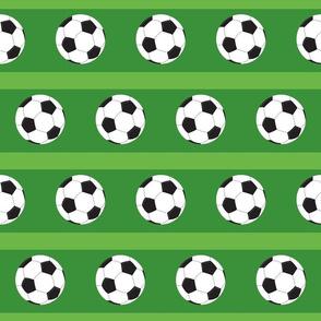soccer white ball -green stripe field - Large 45