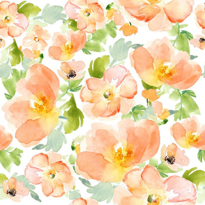 "21"" Floral Love Print / Peach Flowers"