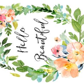 "56""x36"" Hello Beautiful / Floral Print"
