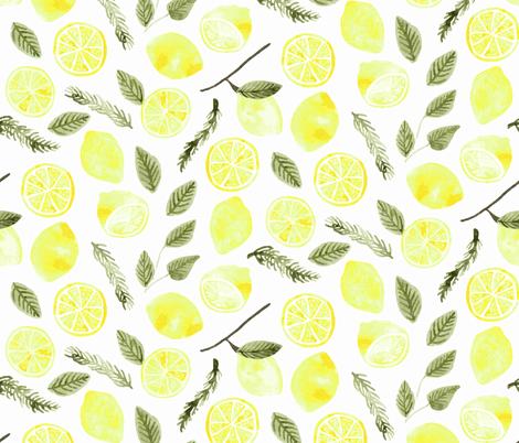 Lemons & Rosemary - White fabric by scarlette_soleil on Spoonflower - custom fabric