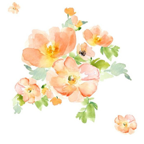 "14"" Floral Love Peach Print / Less Flowers"
