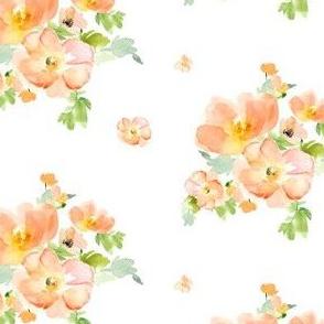 "4"" Floral Love Peach Print / Less Flowers"