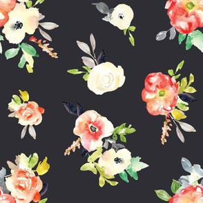Amelie Black and Red Floral Fabric