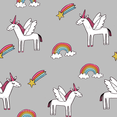 pegasus // magic unicorn shooting stars and rainbows nursery fabric grey bright