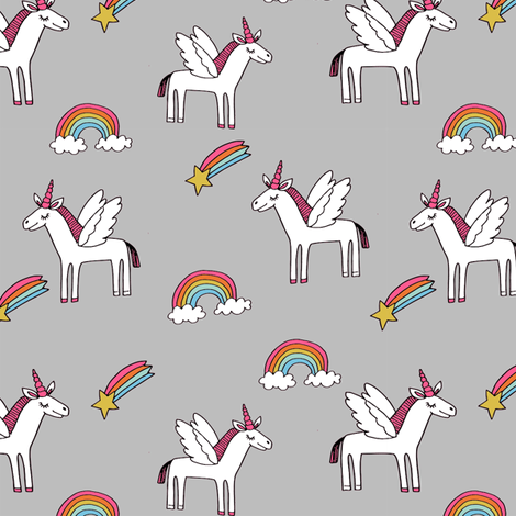 pegasus // magic unicorn shooting stars and rainbows nursery fabric grey bright fabric by andrea_lauren on Spoonflower - custom fabric
