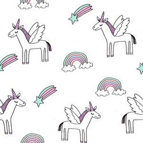 pegasus // magic unicorn shooting stars and rainbows nursery fabric white