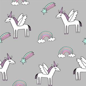 pegasus // magic unicorn shooting stars and rainbows nursery fabric grey
