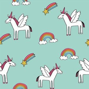 pegasus // magic unicorn shooting stars and rainbows nursery fabric mint