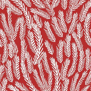 pine needles christmas tree fabric pattern minimal forest winter red