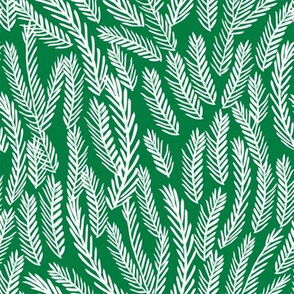 pine needles christmas tree fabric pattern minimal forest winter green
