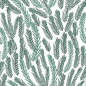 pine needles christmas tree fabric pattern minimal forest winter white green