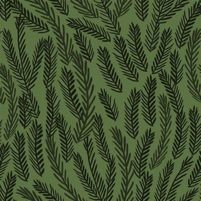 pine needles christmas tree fabric pattern minimal forest winter dark green