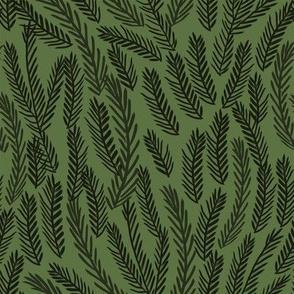 pine needles christmas tree fabric pattern minimal forest winter dark green