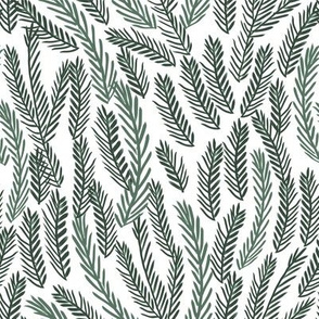 pine needles christmas tree fabric pattern minimal forest winter white green dark