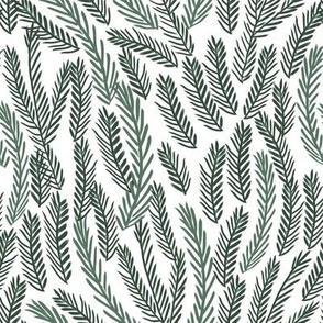 pine needles christmas tree fabric pattern minimal forest winter white green dark