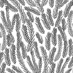 pine needles christmas tree fabric pattern minimal forest winter white black