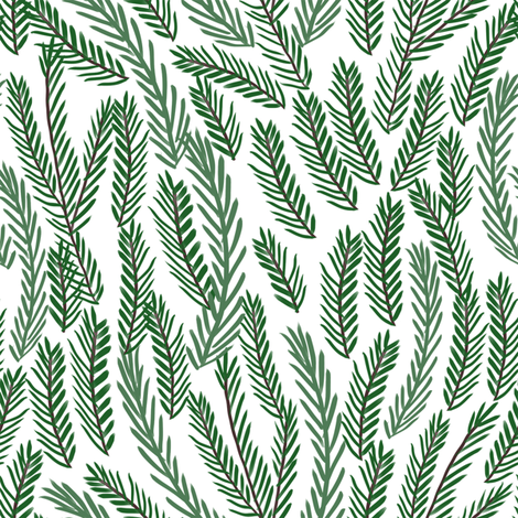 pine needles christmas tree fabric pattern minimal forest winter light fabric by charlottewinter on Spoonflower - custom fabric
