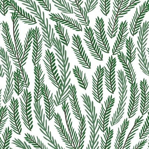 pine needles christmas tree fabric pattern minimal forest winter light