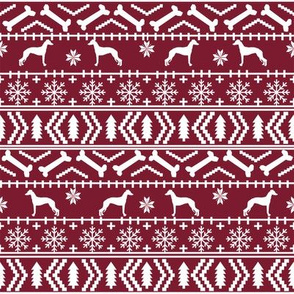 Italian Greyhound fair isle silhouette christmas fabric pattern ruby