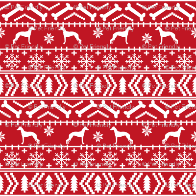 Italian Greyhound fair isle silhouette christmas fabric pattern red