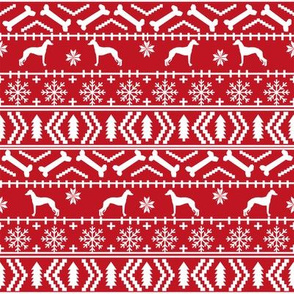 Italian Greyhound fair isle silhouette christmas fabric pattern red