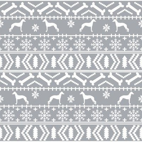 Italian Greyhound fair isle silhouette christmas fabric pattern grey