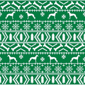 Italian Greyhound fair isle silhouette christmas fabric pattern green