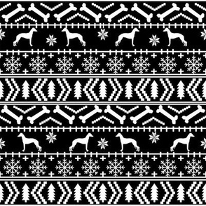 Italian Greyhound fair isle silhouette christmas fabric pattern black and white